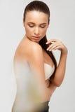 Spa Woman. Beautiful Girl Touching Her Body. Perfect Skin. Body Stock Photography