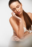 Spa Woman. Beautiful Girl Touching Her Face. Perfect Skin. Skinc Royalty Free Stock Image