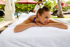 Spa For Woman. Beautiful Happy Female Relaxing At Day Spa Salon Royalty Free Stock Images
