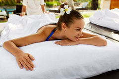 Spa For Woman. Beautiful Happy Female Relaxing At Day Spa Salon Royalty Free Stock Image