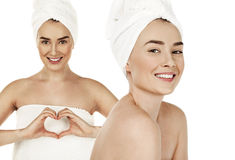 Spa woman. Beautiful Young Woman After Bath. Perfect Skin, isola Royalty Free Stock Photos