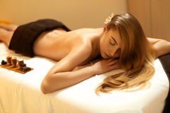 Spa Woman. Blonde Gets Recreation Treatment in Spa Salon. Wellne. Ss Concept Royalty Free Stock Images