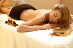 Spa Woman. Blonde Gets Recreation Treatment in Spa Salon. Wellne Royalty Free Stock Photography