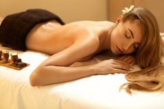 Spa Woman. Blonde Gets Recreation Treatment in Spa Salon. Wellne. Ss Concept Royalty Free Stock Photo