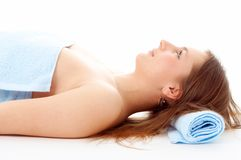 Spa woman in blue towel Stock Photo