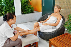Spa Woman Body Care. Aromatherapy Leg Massage. Skincare Treatment Stock Image