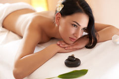Spa Woman. Close-up of a Beautiful Woman Getting Spa Treatment. Royalty Free Stock Photos