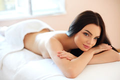 Spa Woman. Close-up of a Beautiful Woman Getting Spa Treatment. Royalty Free Stock Image