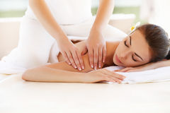 Spa Woman. Close-up of a Beautiful Woman Getting Spa Treatment. Massage Stock Images