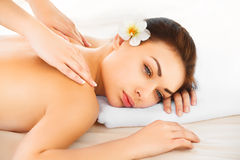 Spa Woman. Close-up of a Beautiful Woman Getting Spa Treatment. Royalty Free Stock Photography