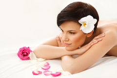 Spa Woman. Close-up of a Beautiful Woman Getting Spa Treatment S Stock Image