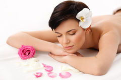 Spa Woman. Close-up of a Beautiful Woman Getting Spa Treatment Royalty Free Stock Photography