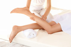 Spa Woman. Close-up of a young woman getting spa treatment. Foot Stock Photo