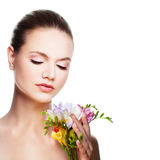 Spa Woman. Cute Face and Flowers Stock Image