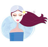 Spa woman with facial peeling mask. Young woman with facial mask. Vector Illustration Royalty Free Stock Images