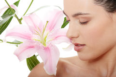 Spa woman with flower Royalty Free Stock Image