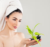 Spa Woman with Green Bamboo. Young Spa Model after Bath Stock Images