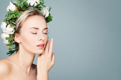 Spa Woman with Green Leaves and Cotton Flowers Wreath Royalty Free Stock Image