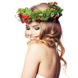 Spa Woman with Healthy Skin, Makeup and Floral Green Wreath Stock Photo