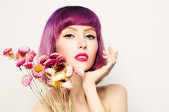Spa Woman. Healthy Woman with Clear Skin and Flowers Royalty Free Stock Images