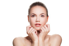 Spa Woman Isolated on White. Healthy Face, Clear Skin. Skincare Stock Photo