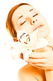 Spa woman with lilly Stock Photos