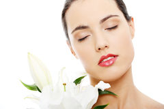 Spa woman with lily flower Stock Image