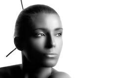 Spa woman. Monochrome Portrait isolated on white Stock Photos