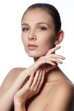 Spa woman. Natural beauty face. Beautiful girl touching her face Stock Photography