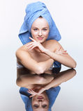 Spa woman over mirror table Royalty Free Stock Photos
