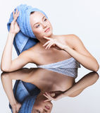 Spa woman over mirror table Stock Photography