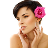 Spa Woman. Portrait of a Smiling Young Woman With Flower Stock Photography