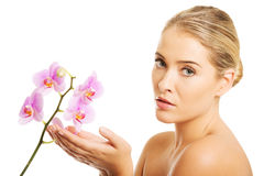 Spa woman with purple orchid Stock Photo