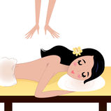 Spa Woman Receiving Massage on table vector illustration