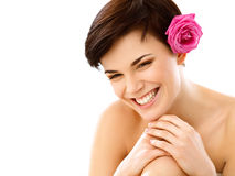 Spa Woman. Smiling Young Girl  With a Flower against White Backg Stock Image