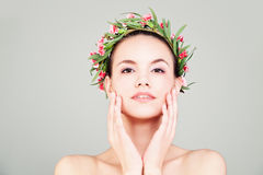 Spa Woman with Summer Flowers Wreath Royalty Free Stock Photo