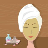 Spa woman towel wear facial mask care Stock Photo