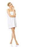 Spa woman wrapped in towel. Royalty Free Stock Image
