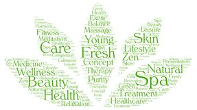 Spa word cloud in a shape of lotus Stock Images