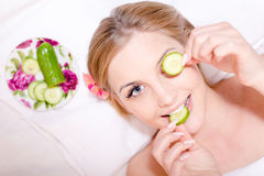 In spa young beautiful attractive girl blond woman Stock Photos