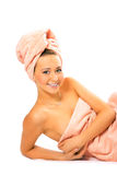 Spa young pretty girl in towel after shower Royalty Free Stock Photos