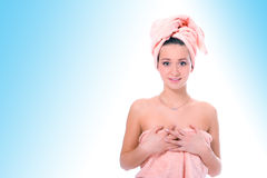 Spa young pretty girl in towel after shower Stock Images