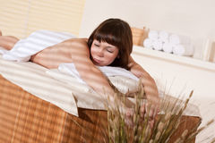 Spa - Young relaxed woman at wellness therapy. Spa - Young woman at wellness therapy waiting for massage stock photography