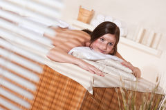 Spa - Young relaxed woman at wellness therapy Stock Photography