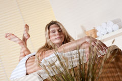 Spa - Young woman at wellness massage treatment. Spa - Young woman at wellness therapy treatment relaxing royalty free stock image
