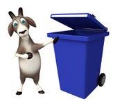 Spaß-Ziegenzeichentrickfilm-figur mit Mülleimer Stockbilder
