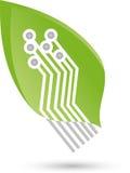 Spaander als blad, installatie, groene IT en spaanderembleem Stock Afbeeldingen
