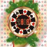 Spaander van het pook de nieuwe 2018 jaar, uitnodigingskaart Royalty-vrije Stock Foto