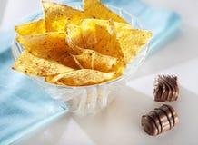 Spaanders en chocolade Stock Foto's