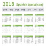 2018 Spaans-Amerikaanse Kalender Stock Afbeeldingen